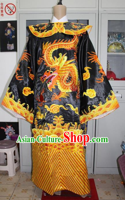 Top Grade Professional Beijing Opera Costume Embroidered Robe Black Gwanbok, Traditional Ancient Chinese Peking Opera Royal Highness Embroidery Clothing