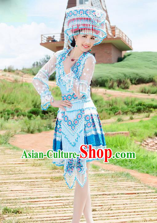 Traditional Chinese Miao Nationality Wedding Veil Costume Embroidered Blue Short Dress and Hat, Hmong Folk Dance Ethnic Chinese Minority Nationality Embroidery Clothing for Women
