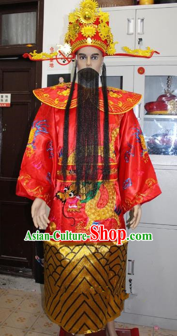 Traditional China Beijing Opera Old Men Costume God of Wealth Embroidered Robe and Headwear, Ancient Chinese Peking Opera Mammon Clothing