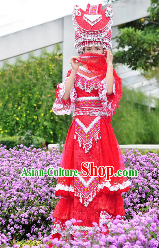 Traditional Chinese Miao Nationality Dancing Costume Hmong Female Folk Dance Ethnic Pleated Skirt Chinese Minority Nationality Embroidery Costume for Women