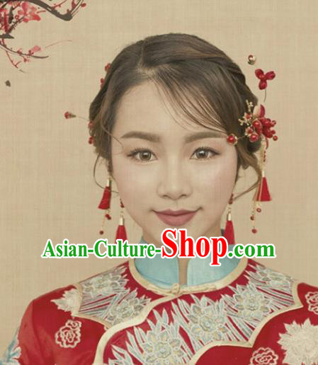 Traditional Handmade Chinese Ancient Classical Hair Accessories Hairpins, Red Hair Sticks Hair Jewellery for Women