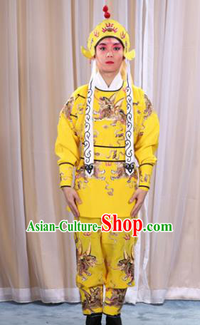 Traditional China Beijing Opera Takefu Costume, Ancient Chinese Peking Opera Wu-Sheng Warrior Embroidery Yellow Clothing