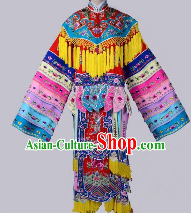 Top Grade Professional Beijing Opera Diva Costume Palace Lady Senior Concubine Embroidered Dress, Traditional Ancient Chinese Peking Opera Embroidery Clothing