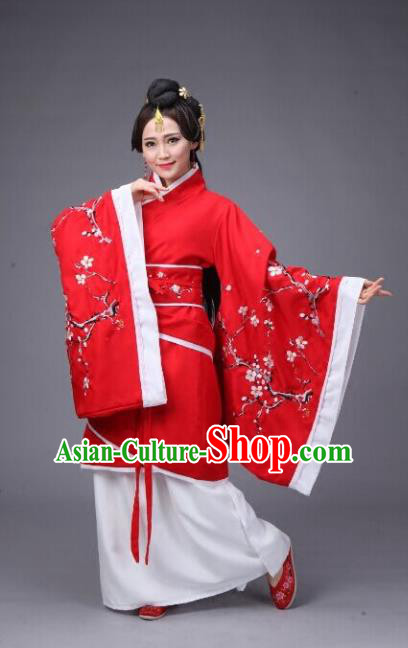 Traditional Chinese Hanfu Han Dynasty Princess Wedding Costume, Elegant Hanfu Clothing Chinese Ancient Embroidery Plum Blossom Dress for Women