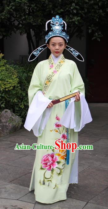 Top Grade Professional Beijing Opera Niche Costume Scholar Yellow Embroidered Robe and Hat, Traditional Ancient Chinese Peking Opera Embroidery Gwanbok Clothing