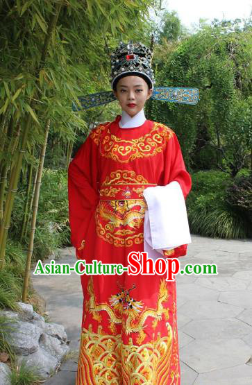 Top Grade Professional Beijing Opera Niche Costume Lang Scholar Red Embroidered Robe and Hat, Traditional Ancient Chinese Peking Opera Emperor Son-in-law Embroidery Gwanbok Clothing