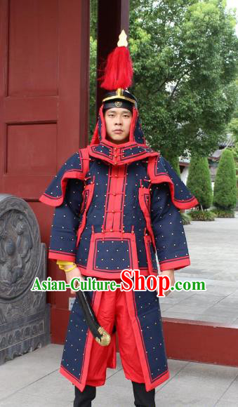 Traditional China Beijing Opera Qing Dynasty General Costume Helmet and Armour, Ancient Chinese Peking Opera Manchu Imperial Bodyguard Warrior Black Clothing