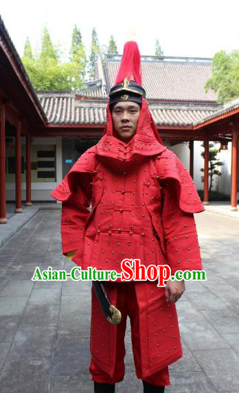 Traditional China Beijing Opera Qing Dynasty General Costume Helmet and Armour, Ancient Chinese Peking Opera Manchu Imperial Bodyguard Warrior Red Clothing