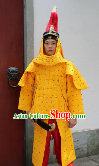 Traditional China Beijing Opera Qing Dynasty General Costume Helmet and Armour, Ancient Chinese Peking Opera Manchu Imperial Bodyguard Warrior Yellow Clothing