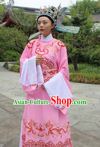 Top Grade Professional Beijing Opera Niche Costume Gifted Scholar Pink Embroidered Robe, Traditional Ancient Chinese Peking Opera Embroidery Gwanbok Clothing