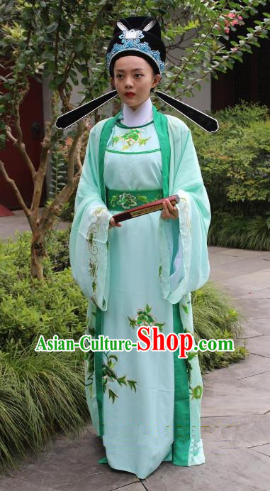 Top Grade Professional Beijing Opera Niche Costume Gifted Scholar Green Embroidered Robe, Traditional Ancient Chinese Peking Opera Embroidery Gwanbok Clothing