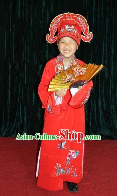 Top Grade Professional Beijing Opera Niche Costume Young Men Red Embroidered Robe, Traditional Ancient Chinese Peking Opera Scholar Embroidery Clothing for Kids