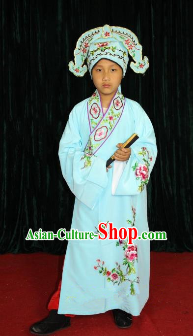 Top Grade Professional Beijing Opera Niche Costume Young Men Blue Embroidered Robe, Traditional Ancient Chinese Peking Opera Scholar Embroidery Clothing for Kids