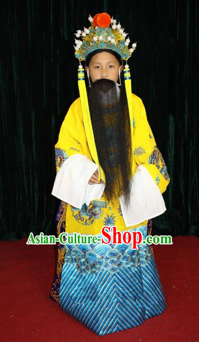 Top Grade Professional Beijing Opera Emperor Costume Embroidered Robe, Traditional Ancient Chinese Peking Opera Royal Highness Embroidery Dragons Clothing for Kids
