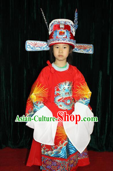 Top Grade Professional Beijing Opera Niche Costume Gifted Scholar Embroidered Robe, Traditional Ancient Chinese Peking Opera Embroidery Clothing for Kids