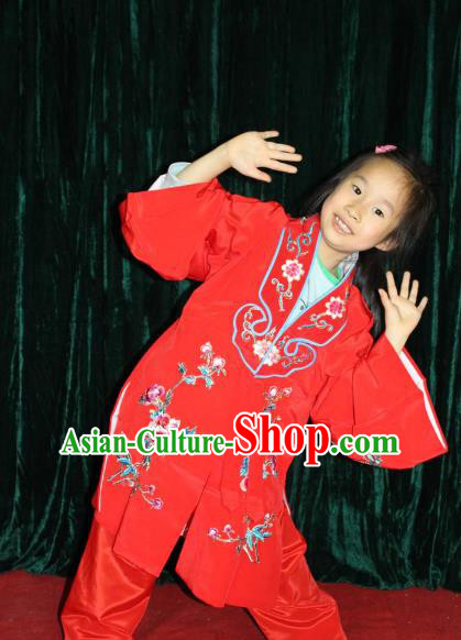 Top Grade Professional Beijing Opera Princess Costume Hua Tan Red Embroidered Cape, Traditional Ancient Chinese Peking Opera Diva Embroidery Clothing for Kids