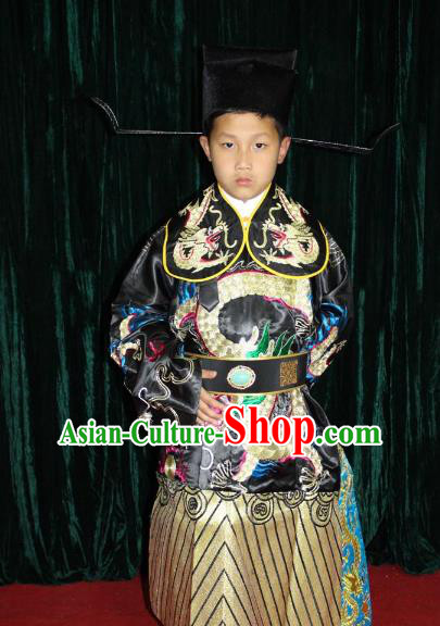 Top Grade Professional Beijing Opera Costume Embroidered Robe, Traditional Ancient Chinese Peking Opera Royal Highness Embroidery Gwanbok Clothing for Kids