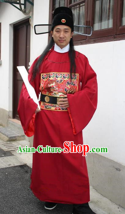 Top Grade Professional Beijing Opera Costume Ming Dynasty Minister Red Embroidered Robe, Traditional Ancient Chinese Peking Opera Embroidery Gwanbok Clothing