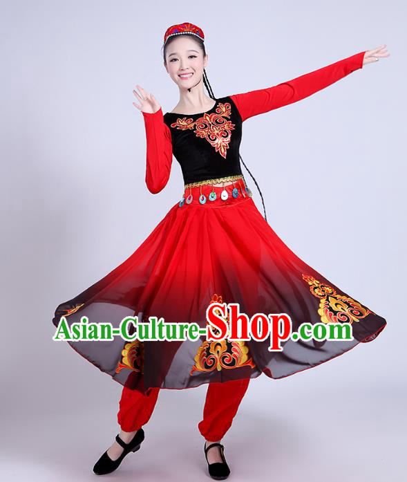 Traditional Chinese Uyghur Nationality Dancing Costume, Folk Dance Ethnic Costume, Chinese Minority Nationality Uigurian Dance Red Dress for Women