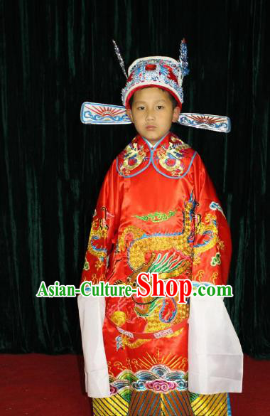 Top Grade Professional Beijing Opera Costume Red Embroidered Robe, Traditional Ancient Chinese Peking Opera Royal Highness Embroidery Gwanbok Clothing for Kids