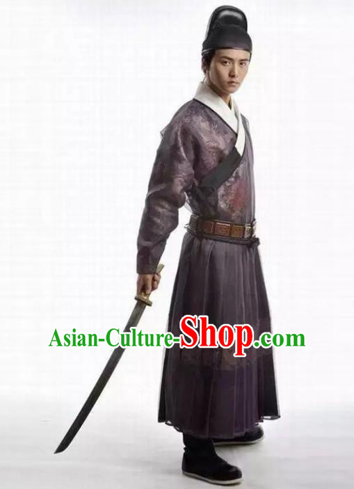 Traditional Chinese Ancient Swordsman Costume, Chinese Ming Dynasty Knight Kawaler Hanfu Imperial Guards Clothing for Men