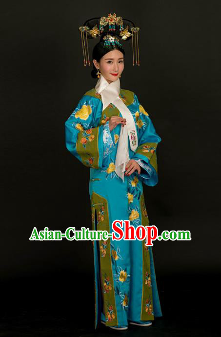 Traditional Ancient Chinese Imperial Consort Costume, Chinese Qing Dynasty Manchu Lady Dress, Chinese Mandarin Robes Imperial Concubine Embroidered Clothing for Women