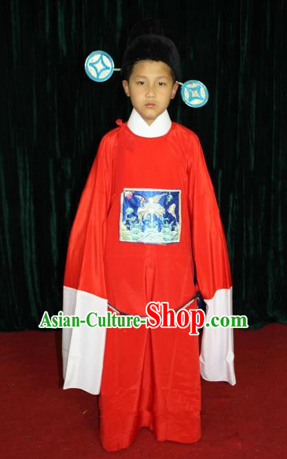 Top Grade Professional Beijing Opera Costume Red County Magistrate Embroidered Robe, Traditional Ancient Chinese Peking Opera Embroidery Gwanbok Clothing for Kids