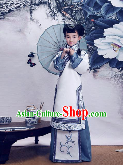 Traditional Chinese Qing Dynasty Young Girls Costume, Elegant Hanfu Clothing Chinese Ancient Republic of China Embroidery Xiuhe Suit Clothing for Kids