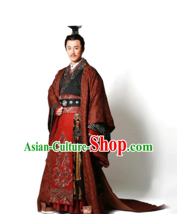 Traditional Chinese Ancient Qin Dynasty Emperor Embroidered Wedding Costume, China Han Dynasty Majesty Embroidery Hanfu Clothing