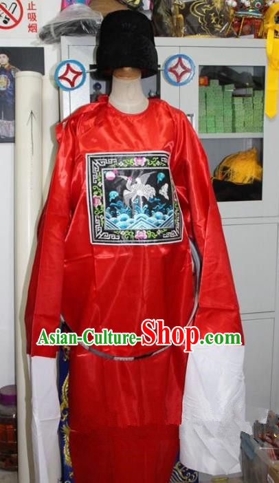 Top Grade Professional Beijing Opera Costume Red County Magistrate Embroidered Robe, Traditional Ancient Chinese Peking Opera Clown Embroidery Gwanbok Clothing