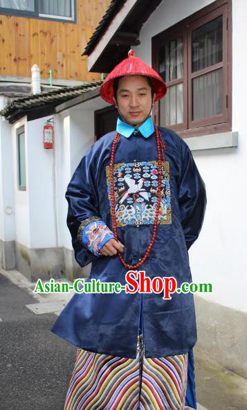 Top Grade Professional Beijing Opera Costume Qing Dynasty County Magistrate Embroidered Robe, Traditional Ancient Chinese Peking Opera Manchu Embroidery Gwanbok Clothing