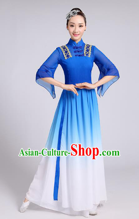 Traditional Chinese Yangge Fan Dance Costume, Chinese Classical Umbrella Dance Blue Chiffon Dress Yangko Embroidery Clothing for Women