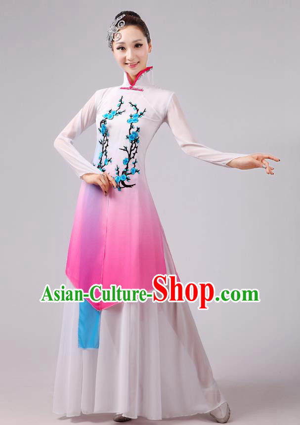 Traditional Chinese Folk Dance Costume Yangge Dance Embroidery Plum Blossom Uniform, Chinese Classical Fan Dance Umbrella Dance Yangko Pink Clothing for Women