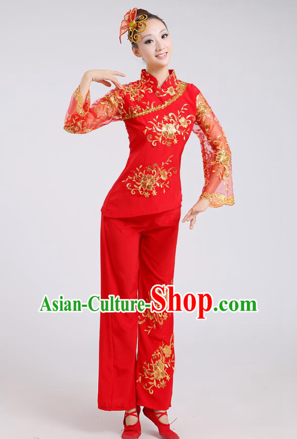Traditional Chinese Folk Dance Costume Yangge Dance Red Uniform, Chinese Classical Fan Dance Drum Dance Yangko Clothing for Women