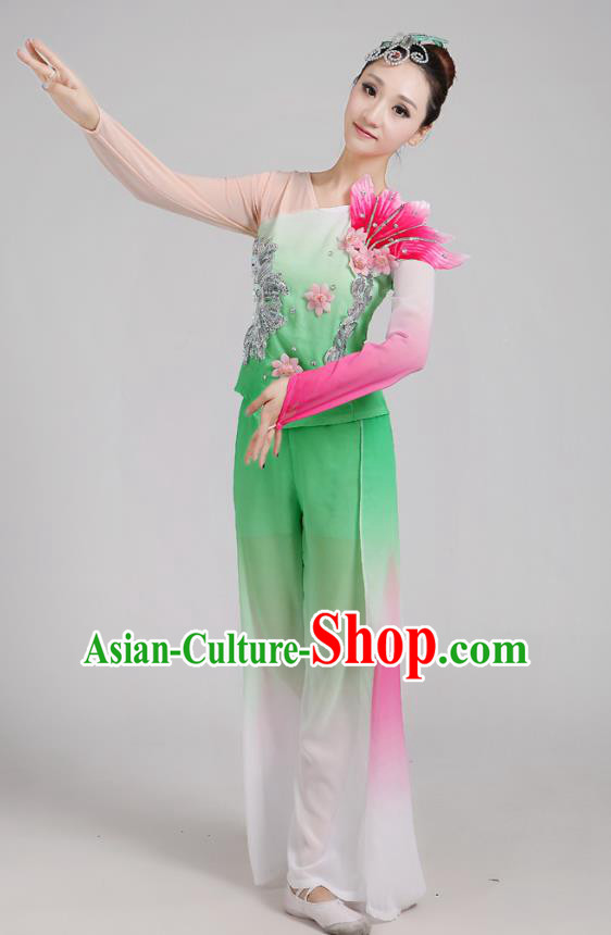 Traditional Chinese Folk Dance Costume Yangge Dance Green Jasmine Flower Uniform, Chinese Classical Fan Dance Drum Dance Yangko Clothing for Women