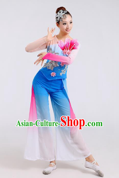 Traditional Chinese Folk Dance Costume Yangge Dance Blue Uniform, Chinese Classical Fan Dance Waist Drum Dance Yangko Clothing for Women