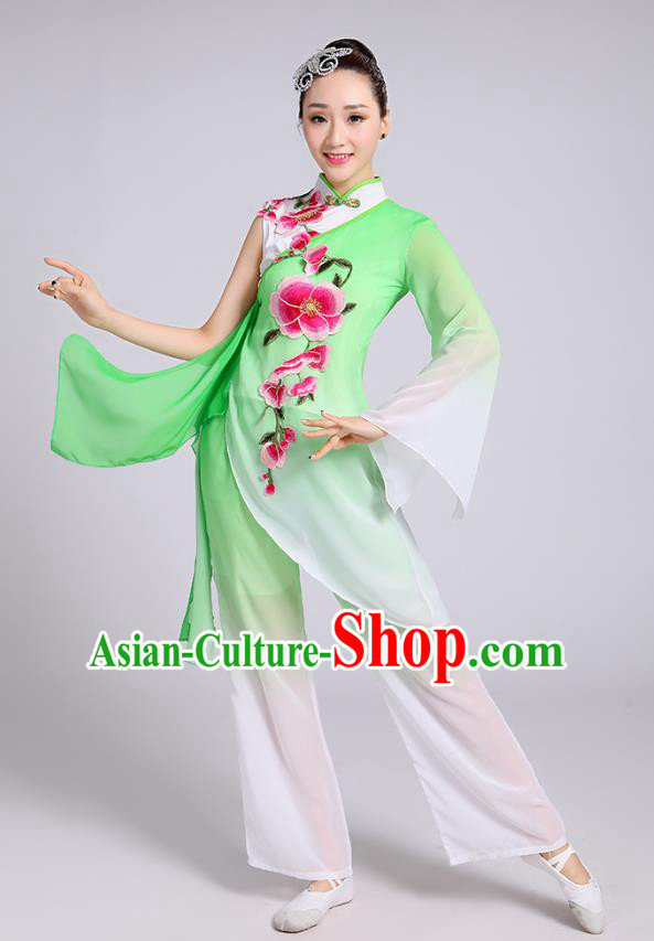 Traditional Chinese Classical Dance Yangge Fan Dance Costume, Chinese Classical Umbrella Dance Green Uniform Yangko Embroidery Clothing for Women