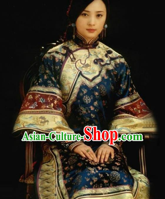 Traditional Chinese Qing Dynasty Mistress XiuHe Suit Costume, Elegant Hanfu Clothing Chinese Ancient Republic of China Young Dowager Embroidery Xiuhe Suit Clothing