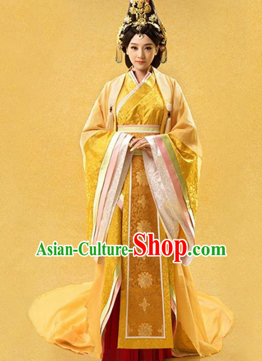 Traditional Ancient Chinese Imperial Consort Costume, Elegant Hanfu Clothing Chinese Qin Dynasty Imperial Empress Tailing Embroidered Dress Clothing for Women