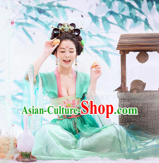 Traditional Ancient Chinese Imperial Consort Green Costume, Elegant Hanfu Clothing Chinese Tang Dynasty Imperial Empress Embroidered Clothing for Women