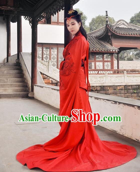 Traditional Ancient Chinese Imperial Empress Wedding Red Costume Complete Set, Elegant Hanfu Chinese Han Dynasty Princess Embroidered Clothing