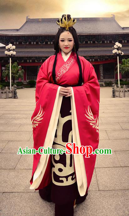 Traditional Ancient Chinese Bride Wedding Costume, Elegant Hanfu Clothing Chinese Han Dynasty Imperial Empress Tailing Embroidered Clothing for Women