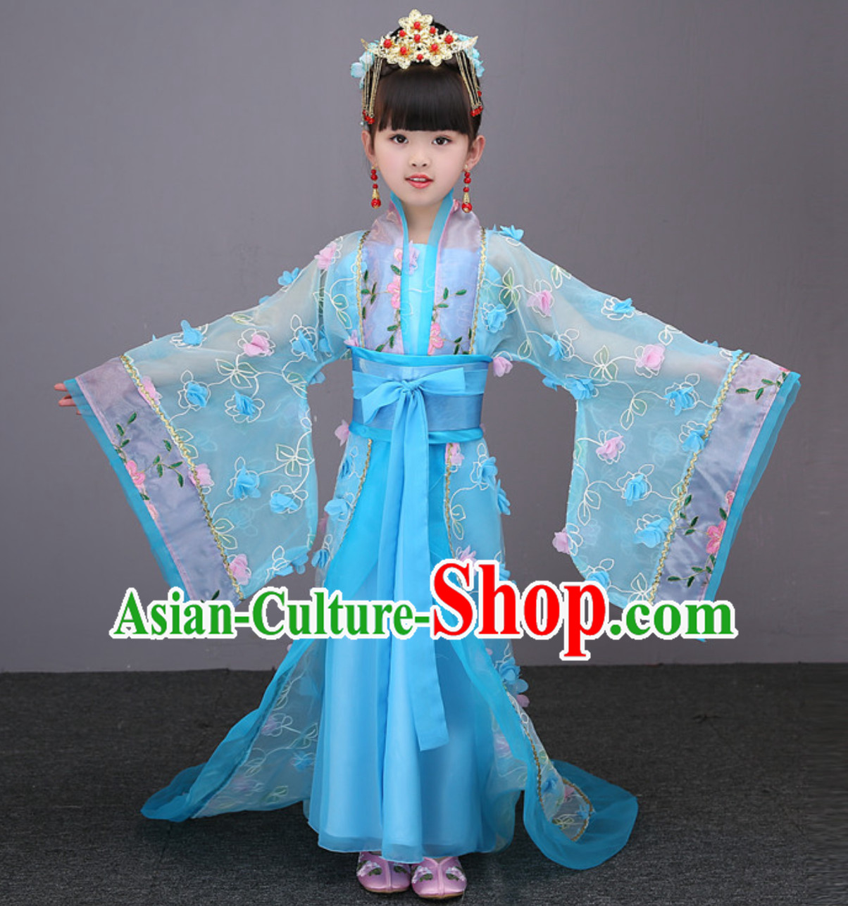 Blue Color Ancient Chinese Imperial Female Emperor Clothing and Hair Accessories Complete Set for Women