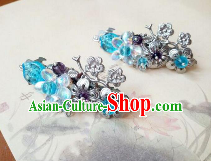Traditional Handmade Chinese Ancient Classical Hair Accessories Coloured Glaze Blue Hair Claw for Women