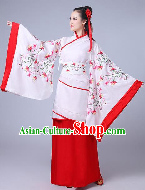 Traditional Chinese Han Dynasty Palace Lady Costume Embroidery Curve Bottom, Elegant Hanfu Clothing Chinese Ancient Princess Clothing for Women