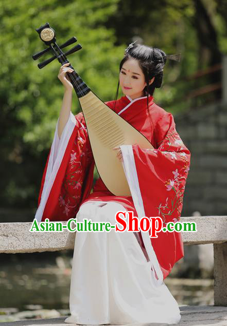 Traditional Chinese Han Dynasty Palace Lady Wedding Costume Red Embroidery Curve Bottom, Elegant Hanfu Clothing Chinese Ancient Princess Clothing for Women