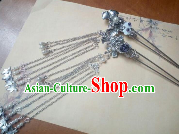 Traditional Handmade Chinese Ancient Classical Hanfu Hair Accessories Tassel Hairpins, Princess Headpiece Hair Stick for Women