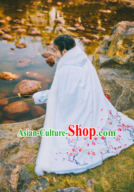 Traditional Chinese Ancient Ming Dynasty Princess Mantle Embroider Plum Blossom Cape for Women