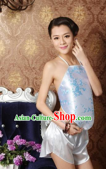 Traditional Chinese Ming Dynasty Princess White Bellyband, China Ancient Palace Lady Stomachers Embroidery Undergarment for Women