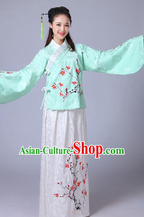 Traditional Asian Oriental China Costume Embroidery Wintersweet Blouse and Skirt Complete Set, Chinese Ming Dynasty Imperial Princess Embroidered Clothing for Women